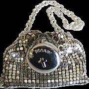 Vintage Whiting and Davis Mesh Catholic Rosary Bead Bag with Wrist Chain