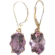 Stunning Large 14K Orchid Amethyst Lever Back Pierced Earrings