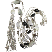 Gorgeous Sterling Graduated 3 Strand Necklace with Shimmering Tassel