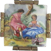 Romantic Early 1900's Limoges Porcelain Courting Couple Brooch