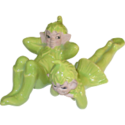Adorable 1950's Gilner Ceramic Pixie Boy and Girl Figurines