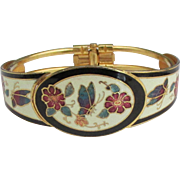 Vintage Enamel Butterflies and Flowers Clamper Bracelet