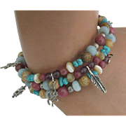 Vintage Southwest Sterling Charm Gemstone Bead Memory Wire Bracelet