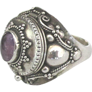 Beautiful Ornate Sterling Amethyst Poison Ring