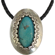 Large Old Pawn NA Sterling Turquoise Pendant on Braided Leather