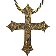 Large Ornate Vintage Floral Cross on Thick Twisted Chain