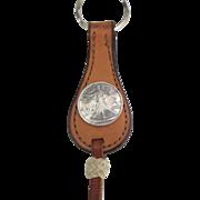 Vintage NA Lady Liberty Half Dollar Leather Key Fob or Holder