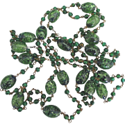 Wonderful Vintage Italian Green Murano Glass Necklace- 56 Inches
