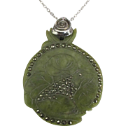 Large Vintage Frog Celluloid with Sterling Chain and Marcasite