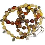 Vintage Lemon Quartz Jasper Amber Bead Double Strand Necklace with Leaves