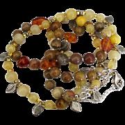 Vintage Lemon Quartz Jasper Amber Bead Double Strand Necklace with Leaves