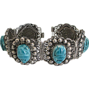 Beautiful Egyptian Revival Faience Scarab Sterling Bracelet