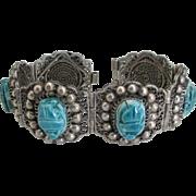 Beautiful Egyptian Revival FaienceScarab Sterling Bracelet