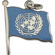 Vintage United Nations Enamel Sterling Flag Charm