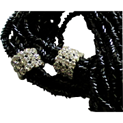 Glittering Vintage Black Torsade Necklace with Huge Rondells