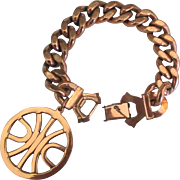 Wonderful Chunky Vintage Renoir Copper Bracelet with Geometric Charm