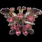 Sparkling Vintage Austrian Rhinestone Butterfly Brooch