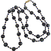 Lovely Vintage Deep Blue Italian Murano Glass Bead Necklace-29 Inches