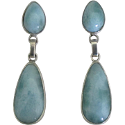 Gorgeous Sterling Larimar Dangle Pierced Earrings