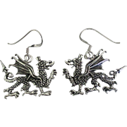 Detailed Sterling Dragon Pierced Earrings