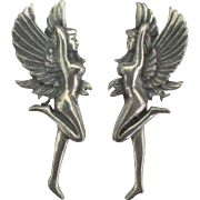 Vintage Sterling Winged Standing Nude Female Pierced Earrings