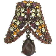 Rich Sparkling Vintage Rhinestone Brooch with Dangle