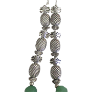 Gorgeous Sterling Pineapple Necklace with Sea Glass Green Faceted Beads- 32 Inches