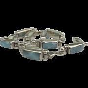 Lovely Blue Larimar Sterling Link Bracelet