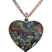 Large Vintage Swirled Art Glass Heart Pendant