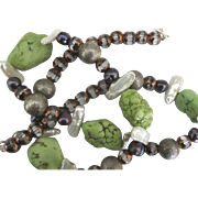 Gaspeite Nugget Freshwater Pearl Necklace