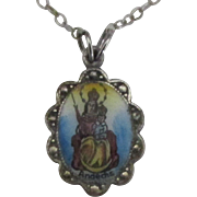 Vintage Enamel 830 German Silver Andechs Abbey Our Lady Medal