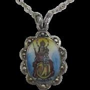 Vintage Enamel 830 German Silver Andechs Abbey Our Lady Medal