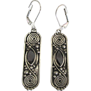 Ornate Vintage Sterling Garnet Pierced Lever Back Earrings