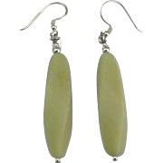 Lovely Sterling Olive Jade Pierced Earrings