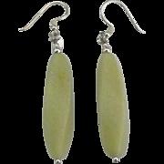 Lovely Sterling Olive Jade Pierced Earrings