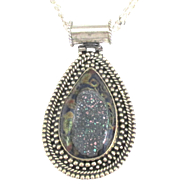 Beautiful Sterling Druzy and Art Glass Pendant and Fancy Chain