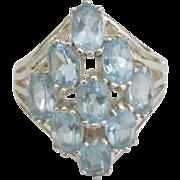 Sparkling Sterling Blue 9 Topaz Ring- Size 7 3/4