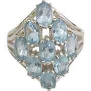 Sparkling Sterling Blue 9 Topaz Ring- Size 7 3/4