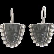 Vintage Sterling Carved Onyx Mask Pierced Earrings