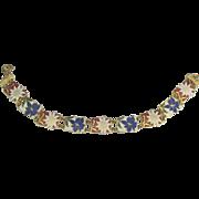 Pretty Vintage Enamel Floral Link Gold Tone Bracelet