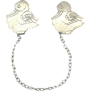 Charming Webster Sterling Stork Bib Clips with Chain