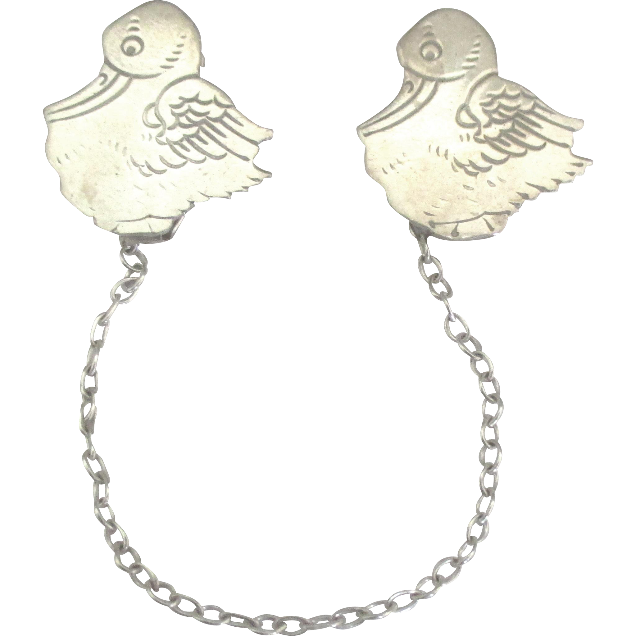 Used Jewelry San Diego Of Charming Webster Sterling Stork Bib Clips With Chain Del