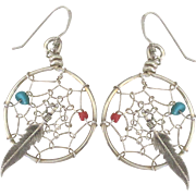 Vintage Sterling Dream Catcher Pierced Earrings with Feather Dangles and Beads