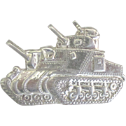 Vintage 1937 Sterling Military Tank Brooch