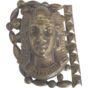 Vintage 1930's Brass Egyptian Female Mask Dress Clip