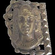 Vintage 1930's Brass Egyptian Female Mask Dress Clip