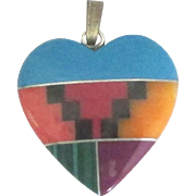 Native American Zuni Inlaid Mineral Heart Pendant or Charm