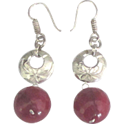 Lovely Sterling Natural Ruby Pierced Earrings