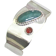 Lovely Vintage Sterling Cuff Bracelet with Chrysophase and Garnet