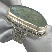 Bold Vintage Sterling Druzy Quartz Adjustable Ring- Israel
